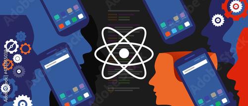 Obraz na plátně react native mobile programming coding developer software smartphone cogs line o