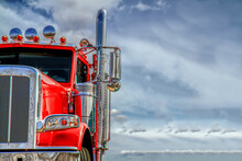 Big Red Semi Tractor Trailer  Room For Copy