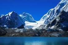 Gurudongmar Lake, Sikkim, India And It's Way From Lachen, North Sikkim. A Holy Lake Never Fully Freezes. It Is Said That Goutam Buddha Drinks Water From This Lake.