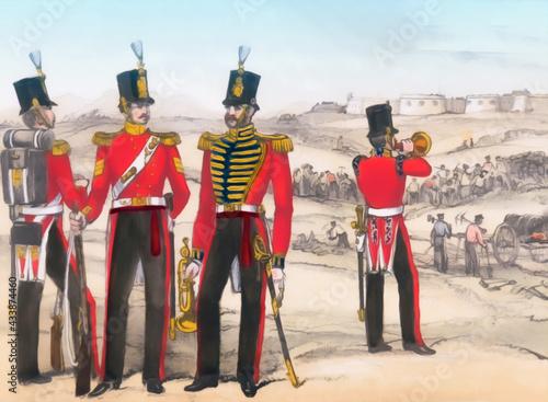 Great Britian soldiers 1850's. Digital Illustration Fototapet