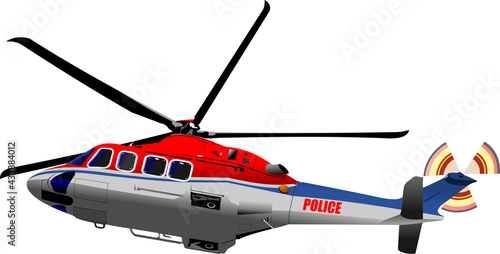 Valokuva Police helicopter. Vector 3d