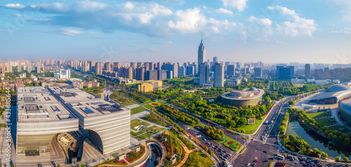 Aerial photography Changzhou city architecture landscape skyline