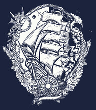 Pirate Ship Goes By Storm In Dark Background. T-shirt Design Art. Old School Tattoo. Sail Boat And Sea Hurricane. Symbol Of Light And Darkness, Life And Death, Hope And Despair, Joy And Grief