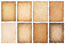 Collection Set Old Parchment Paper Sheet Vintage Aged Or Texture Isolated On White Background
