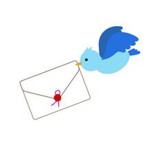 手紙を運ぶ青い鳥のイラスト