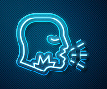 Glowing Neon Line Man Coughing Icon Isolated On Blue Background. Viral Infection, Influenza, Flu, Cold Symptom. Tuberculosis, Mumps, Whooping Cough. Vector.
