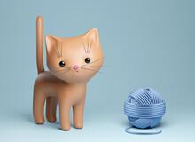 Cute Kitten With Ball Of Yarn. 3d Render