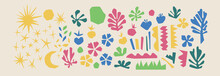 Cutout Elements Isolated. Trendy Matisse Inspired Style. Retro, Vintage. Contemporary Paper Cut Outs Form. Set Collection. Vector Hand Drawn Artwork. Blue, Pink, Red, Beige, Green, Yellow Bright Color