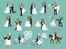 Wedding Couple Set, Bride And Groom Dancing, Hugging, Kissing, Riding Bike And Horse, Jumping, Proposing