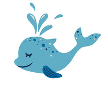 Cute Dolphin. Adorable Blue Dolphin With A Water Fountain. Side View Of Cute Friendly Fish. Childish Character. Sea Animal Floating Underwater. Colored Flat Cartoon Vector Illustration