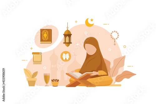 Fotografiet Muslim People Reading And Learning The Quran Islamic Holy Book