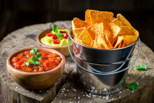 Nachos With Spicy Sauce. Mexican Snack Popular In The Cinema.