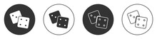 Black Game Dice Icon Isolated On White Background. Casino Gambling. Circle Button. Vector