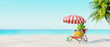 Pineapple with sunglasses resting and drink cocktail on the beach, Summer holiday concept 3d render 3d illustration