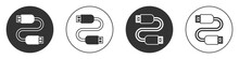 Black USB Cable Cord Icon Isolated On White Background. Connectors And Sockets For PC And Mobile Devices. Circle Button. Vector