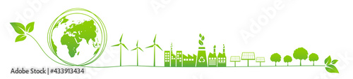 Banner design for World environment day, Sustainability development, Ecology friendly and Green Industries Business concept, Vector illustration