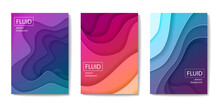 Set Of Modern Abstract Fluid Banners, Posters Or Flyers. Cut Out Peper Art Style Design