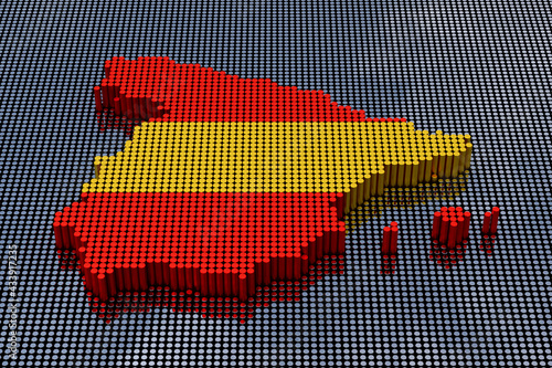Pixel Art Style Spain Map with Spain Flag colors. 3d Rendering