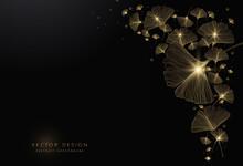 Luxury Ginkgo Background Design With Golden Line On Dark Color. Ginkgo Leaf Line Arts Design For Wallpaper, Banner, Prints, Invitation And Packaging Design. Vector Illustration