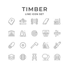 Set Line Icons Of Timber Industry