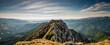Leinwandbild Motiv Hiking on Piatra Craiului mountain ridge