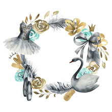 Watercolor Ballet Frame With  Swan, Tutu Dress, Pointe Shoes, Green And Gold Flowers On White Background. Vintage Wreath