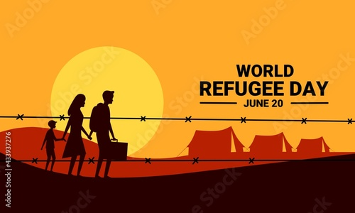 Obraz na płótnie Vector illustration, silhouettes of refugee families walking towards a refugee camp, as a banner, poster or template for world refugee day