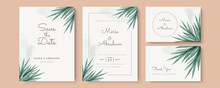 Set Of Card With Flower Rose, Leaves Watercolour. Wedding Ornament Concept. Floral Poster, Invite. Vector Decorative Greeting Card Or Invitation Design Background