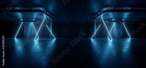 Obraz na plátne Neon Warehouse Laser Blue Glowing Vibrant Electric Concrete Cement Underground S