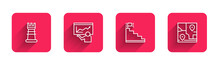 Set Line Business Strategy, Training, Presentation, Stair With Finish Flag And Folded Map Location With Long Shadow. Red Square Button. Vector