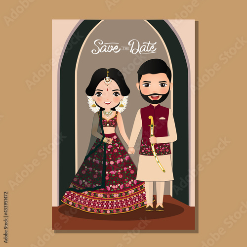 Billede på lærred Wedding invitation card the bride and groom cute couple in traditional indian dress cartoon character