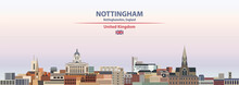 Nottingham Cityscape On Sunset Sky Background Vector Illustration With Country And City Name And With Flag Of United Kingdom