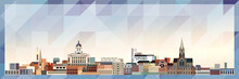 Nottingham Skyline Vector Colorful Poster On Beautiful Triangular Texture Background