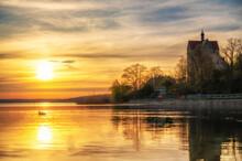 Wunderschönes Schloss Seeburg Am Süßen See Im Romantischen Sonnenuntergang