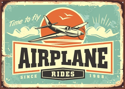 Photo Airplane rides and tours retro advertising sign template
