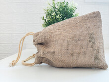 Jute Gift Bag With White Background