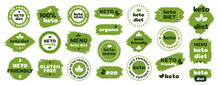 Keto Friendly Diet Nutrition Vector Badge Set On Green Organic Texture Isolated On White-ketogenic Diet Sign, Keto Diet Menu. Vegetables Icon Eco Friendly Diet With Leaves. 10 Eps