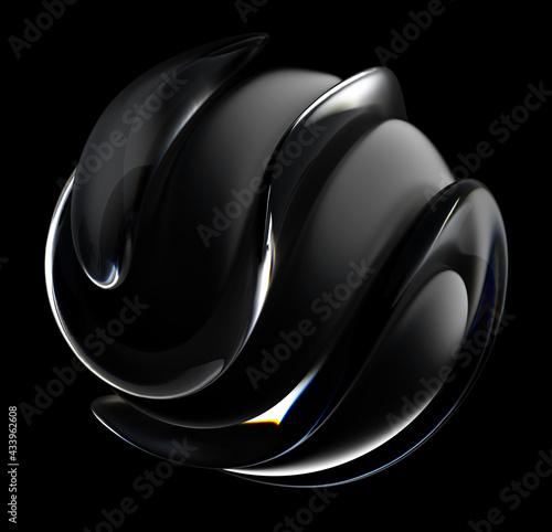 Fototapeta 3d render of abstract art 3d sculpture with surreal alien dark ball in curve wav