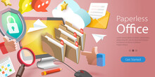 3D Vector Conceptual Illustration Of Paperless Office, Document Management System, Searching Files In Organized Archive.