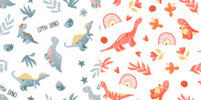 Seamless Cute Dinosaur Pattern. Colorful Dino Background For Kids. Childish Vector Design For Textile And Packaging, Nursery Wallpaper