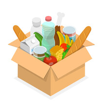 3D Isometric Flat Vector Conceptual Illustration Of Food Pantry Icon, Charity To Fight Hunger