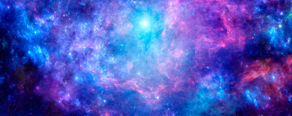 Bright purple cosmic background with nebula and stardust