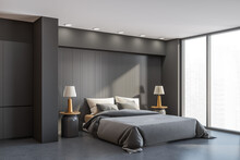 Grey Bedroom Interior With Bed And Linens Near Window, Mockup