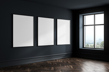 Dark blue empty living room with windows, parquet floor and mockup posters
