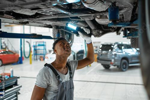 Carta da parati Male mechanic checks car suspension, auto service