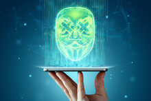 Holograms Of Masks, Hackers Hiding Behind Digital Anonymous Masks, Fake Phone Accounts. Concept For Internet Crime, Fraud, Cyber Attack, Spam, Electronic Theft.