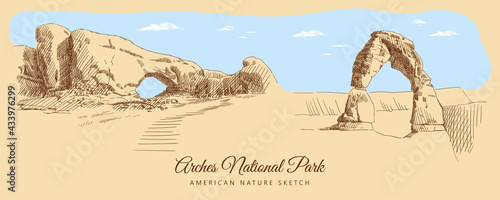 Color sketch of Arches National Park, USA, hand-drawn.