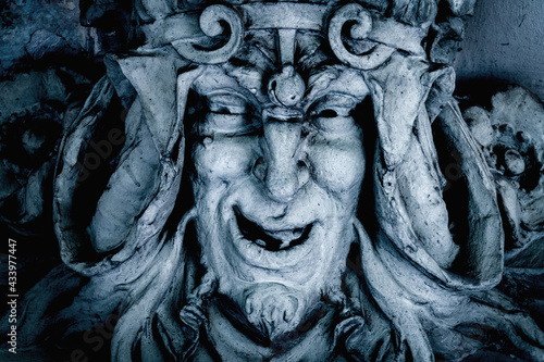 Monster face of aGreek antique god daimon of eager rivalry, envy, jealousy, and zeal Zelus (Zelos) Fototapeta