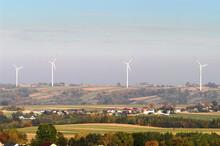 Landscape With Wind Farm In Bodzentyn, Swietokrzyskie Province, Poland.