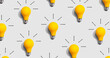 canvas print picture - Yellow light bulb pattern with shadow
